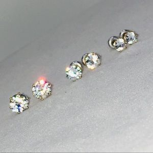 Jewelry - 3 pairs earrings cubic zirconia studs silver tone